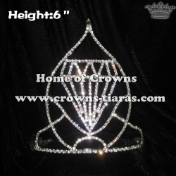 6in Height Big Diamond Shaped Pageant Crowns
