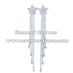 Large Long Rhinestone Bridal Wedding Earrings