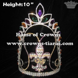 10in Crystal Fleur De Lis Pageant Crowns Mardi Gras Crowns