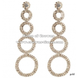 Round Shaped Rhinestone Wedding Earrings