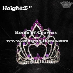 5inch Height Queen Crowns With Purple Stones