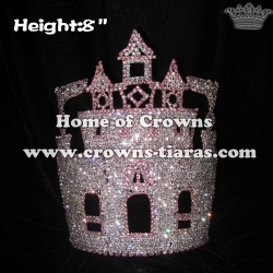 Pink Castle Crystal Rhinestone Crowns