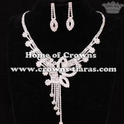 Crystal Rhinestone Wedding Queen Necklace Set