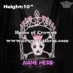 10inch Skull Pink Rhinestones Crowns