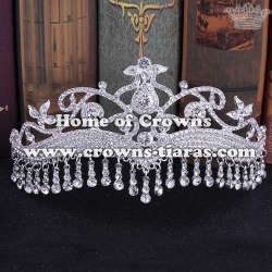 Silver Crystal Bridal Tiaras With Dangle Diamond