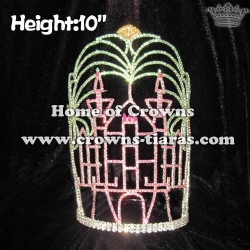 10in Height Crystal Castle Shaped Pageant Crowns With Plam Tree