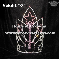 Wholesale 10in Height Music Guitar Rhinestone Pageant Crowns