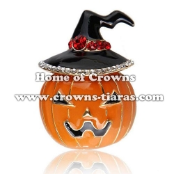 Fashion Alloy Crystal Pumpkin Brooches Pins