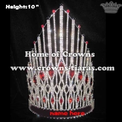 Wholesale Crystal Pageant Crowns With Red Diamonds
