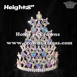 8inch Rhinestone AB Diamond Crowns