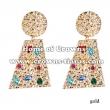 Fashion Alloy Earrings With Pink Diamonds