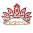 Full Round Alloy Crystal Blue Eyes Pageant Queen Crowns With Curved Round