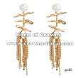 Alloy Rhinestone Earrings With Pearls