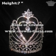 7in Height Heart Shaped Crystal Rhinestones Pageant Crowns
