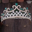 Wholesale 2.75in Height Pageant Tiaras With Green Diamonds