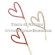 Pink Crystal Heart Shaped Hair Clips