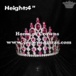 4in Rhinestone Pageant Crowns With Pink Diamonds