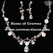 Crystal Necklace Set With Flower And Diamonds