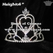 4in Height Heart Shaped Girl Crystal Crowns