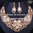 Wholesale Crystal Flower Queen Necklace Set