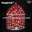 Crystal Rhinestone Pageant Crowns With Red Heart Diamonds