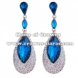 Alloy Crystal Earrings With Big Blue Diamonds
